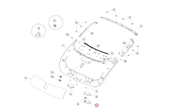 Ручка внутренняя закрытия крышки багажника (с кнопкой закрытия) правая сторона для Tesla Model S