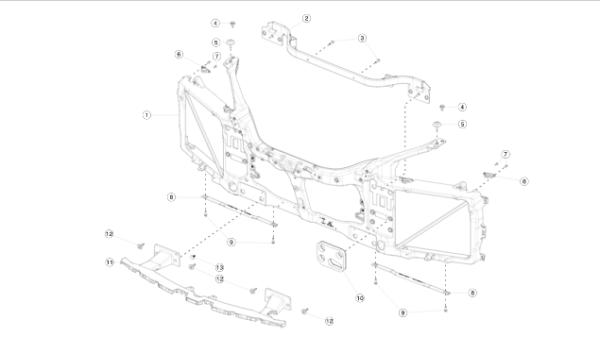 Усилитель (гребень) переднего бампера REST (NEW) Tesla Model S
