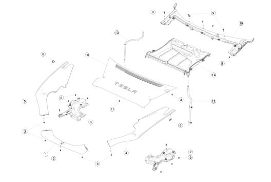 Пластик подкапотный бокса задний REST (NEW) Tesla Model S