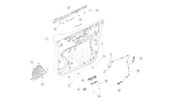 Карта (скелет) двери передней правой Tesla Model X