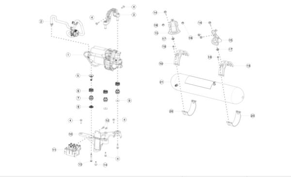 Кронштейн компрессора (пластик) нижний REST (NEW) Tesla Model S