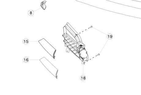 Накладка хромированная люверса верхняя справа Tesla MS2 (2016-2020)
