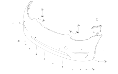 Передний бампер (белый перламутр) (PPSW) Tesla Model Y