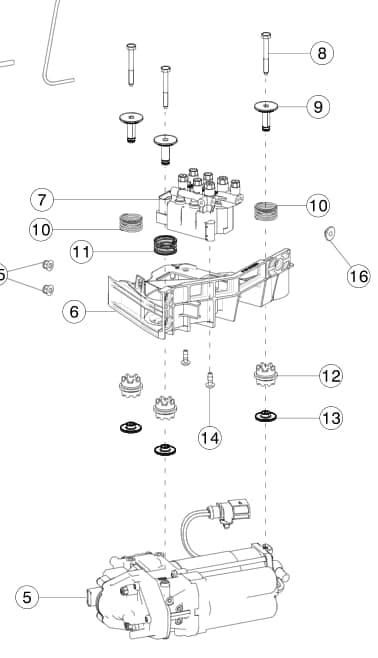Болт M6x1.00x50 [8.8] крепления компрессора пневмоподвески к кронштейну Tesla Model S, MS2, MX